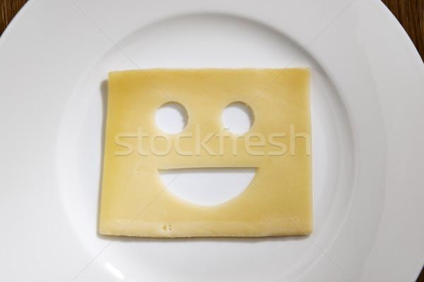 Kaas lachend gezicht tabel afbeelding plakje witte Stockfoto © w20er