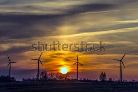 Stockfoto: Vier · avond · noordelijk · Duitsland · bewolkt · hemel