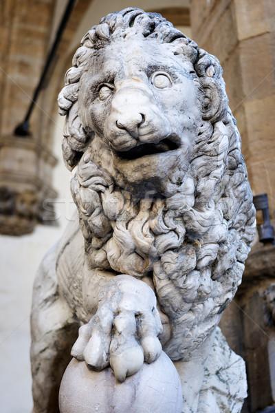 Lion sculpture FLORENCE image Italie pierre Photo stock © w20er