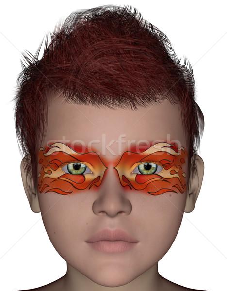 Halloween gezicht masker 3D gerenderd schilderij Stockfoto © Wampa