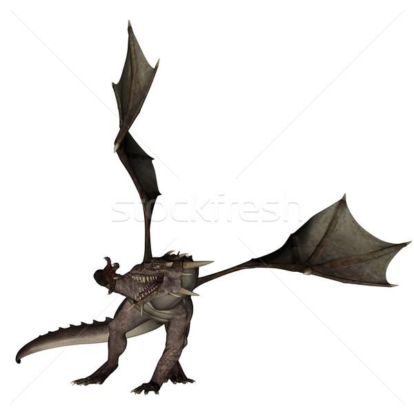 Foto stock: Dragão · 3D · prestados · voador · isolado · branco
