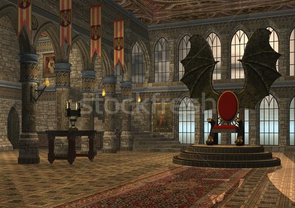 Dragón trono 3D prestados fantasía sala Foto stock © Wampa
