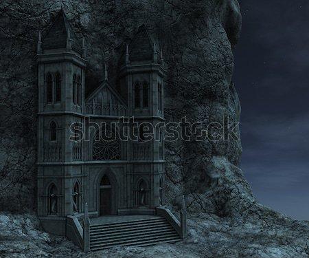 3D レンダリング 岩 1泊 城 暗い ストックフォト © Wampa