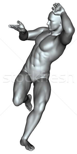 Lutador artes marciais 3D prestados branco isolado Foto stock © Wampa