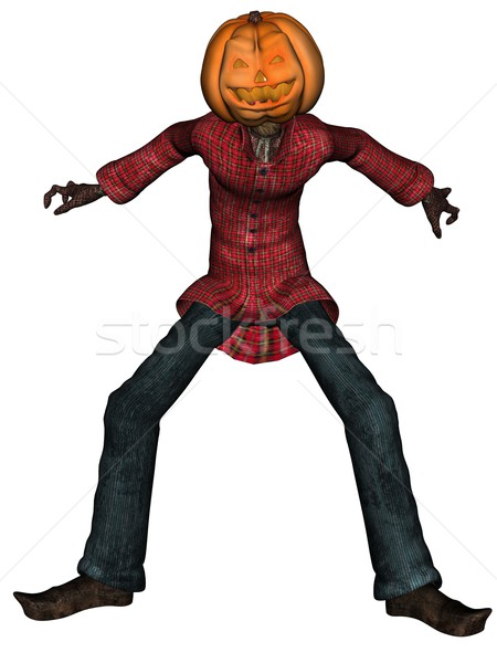 Helloween man with pumpkin head Stock photo © Wampa