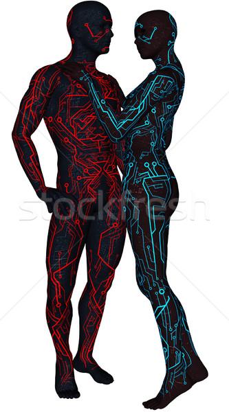 Pary scifi android 3D świadczonych futurystyczny Zdjęcia stock © Wampa