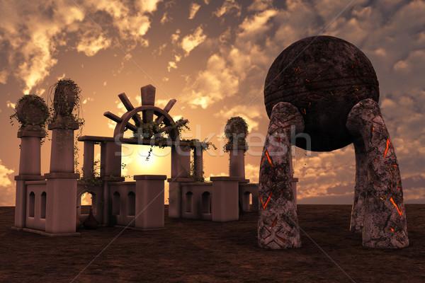 Fantasia templo ruínas 3D prestados antigo Foto stock © Wampa