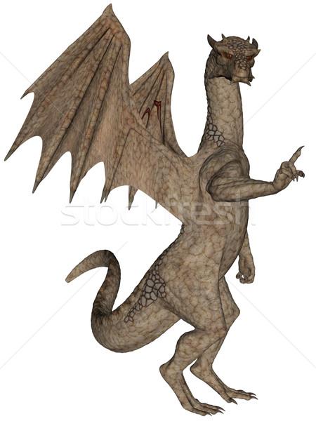 Rocha dragão 3D prestados voador isolado Foto stock © Wampa