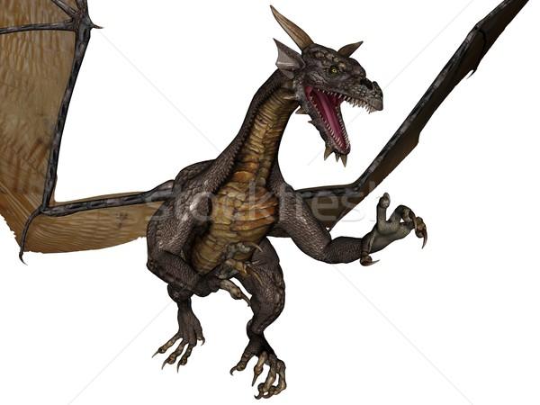 Voador dragão 3D prestados isolado branco Foto stock © Wampa