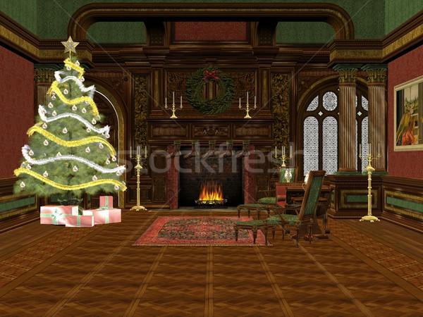 Natal quarto 3D prestados árvore presentes Foto stock © Wampa