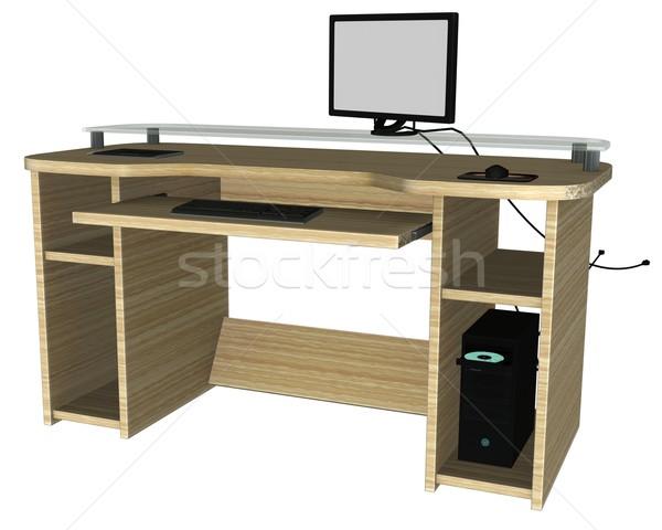 Komputera pulpit 3D świadczonych biały odizolowany Zdjęcia stock © Wampa