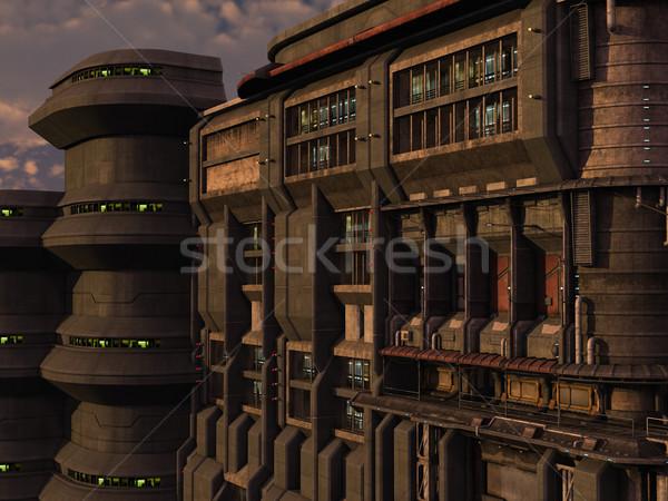 Scifi industrial cidade 3D prestados cena Foto stock © Wampa