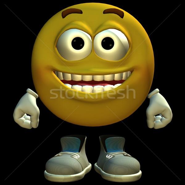 3D emoticon prestados preto isolado faces Foto stock © Wampa