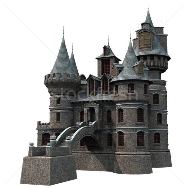 Castelo 3D prestados fantasia branco isolado Foto stock © Wampa