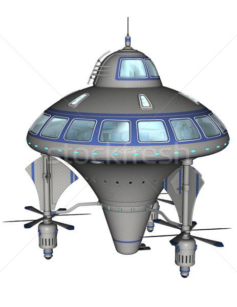 Scifi statek kosmiczny 3D świadczonych biały odizolowany Zdjęcia stock © Wampa
