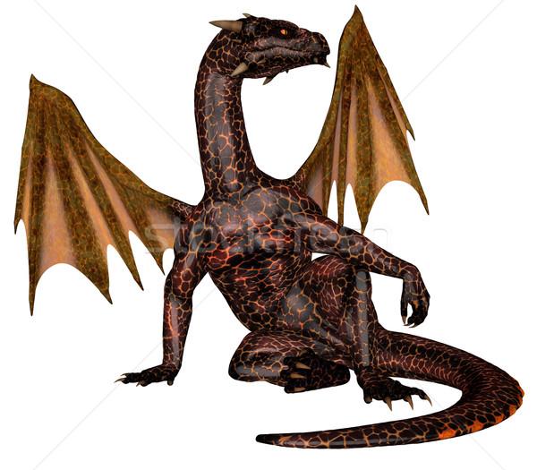 Foto stock: Fogo · dragão · 3D · prestados · voador · isolado