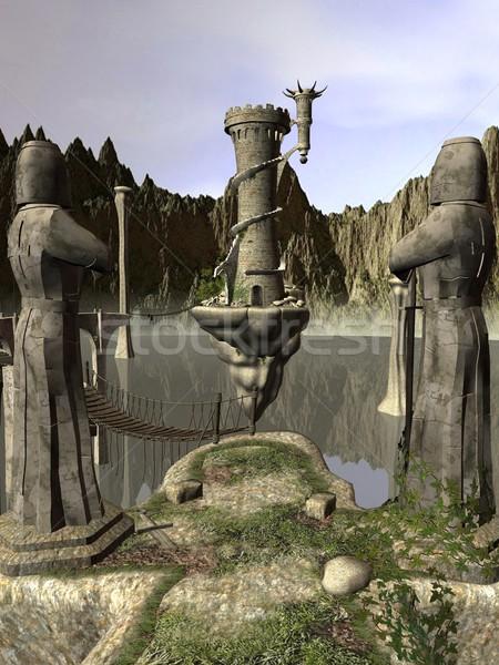 Dragão ilha 3D prestados torre água Foto stock © Wampa