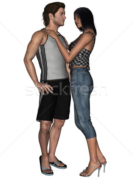 Amantes 3D imagem juntos prestados Foto stock © Wampa