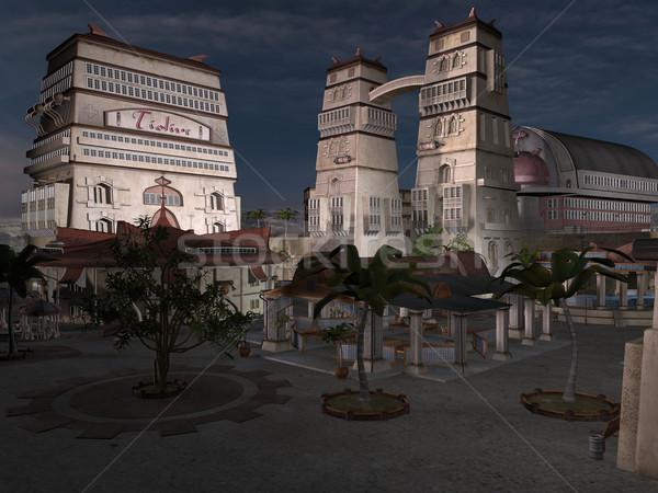 Cidade 3D prestados fantasia antigo monumentos Foto stock © Wampa