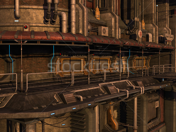 Scifi endüstriyel kasaba 3D render sahne Stok fotoğraf © Wampa