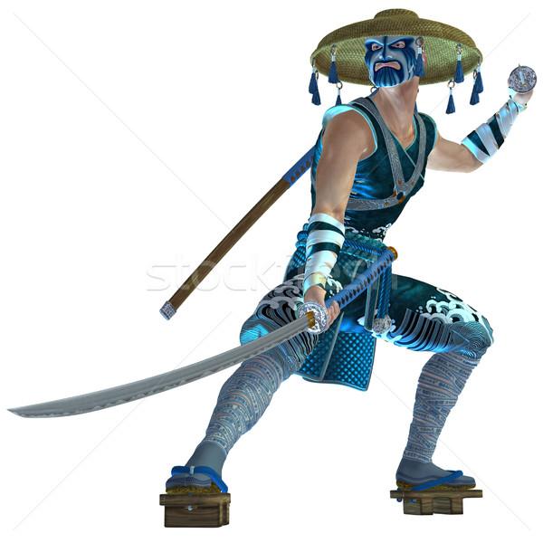 Samurai 3D prestados espada branco isolado Foto stock © Wampa