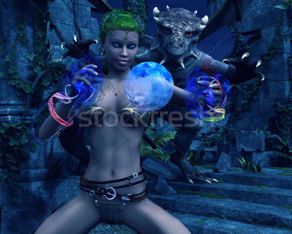 Attacking dragon on conjuring druid elf Stock photo © Wampa