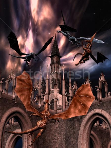 Vechten draken 3D gerenderd hemel macht Stockfoto © Wampa