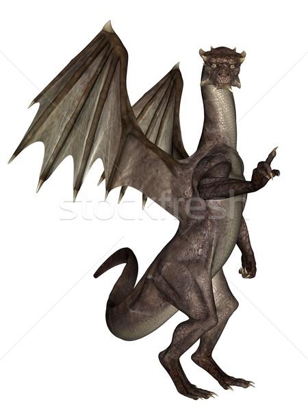 Сток-фото: дракон · 3D · оказанный · Flying · изолированный · белый