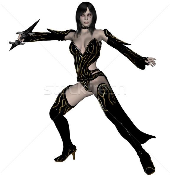 Femme elf guerrier lance 3D rendu Photo stock © Wampa