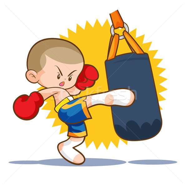 muaythai sandbag boxing kick Stock photo © watcartoon