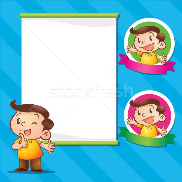 Cute Mann sprechen männlich logo Stock foto © watcartoon