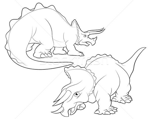 triceratops cartoon lineart Stock photo © watcartoon
