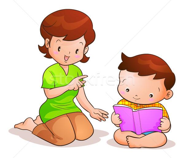 Mutter Sohn Lesung mom Buch Frau Stock foto © watcartoon
