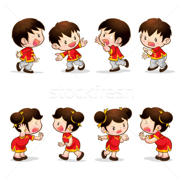 Chinese boy girl actions Stock photo © watcartoon