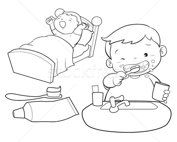 cute boy wakeup line art Stock photo © watcartoon
