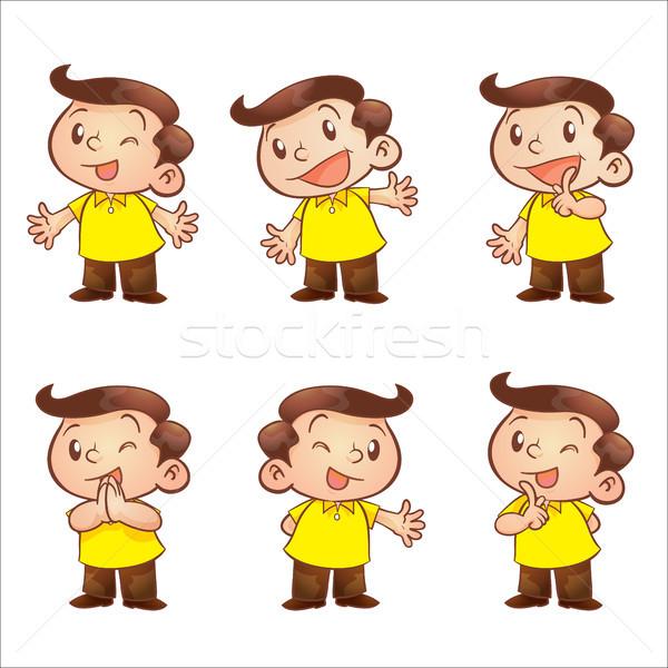 Drucken cute Mann sprechen männlich Hinweis Stock foto © watcartoon
