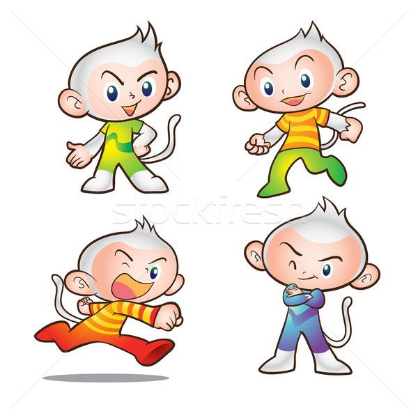 Affe Maskottchen Kinder Zeichen Stock foto © watcartoon
