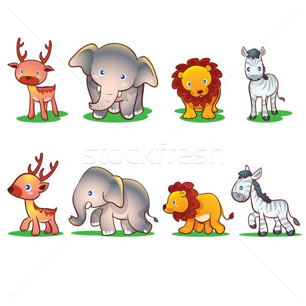 Aranyos állatok elöl oldal sétál állatok oroszlán Stock fotó © watcartoon