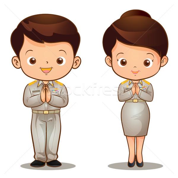 Thai officieel glimlach man welkom cartoon Stockfoto © watcartoon