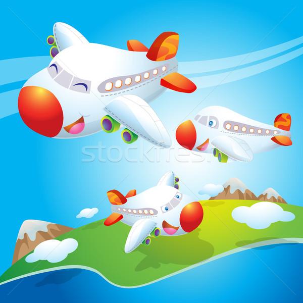 Cute Flugzeug unter fliegen Himmel Stock foto © watcartoon