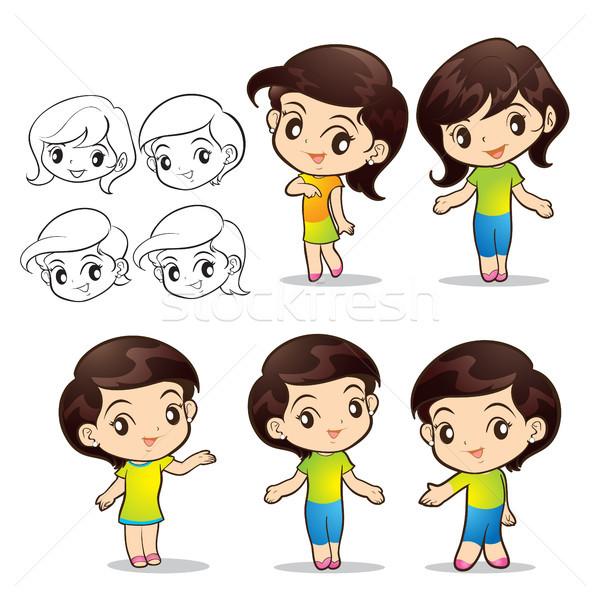 Cute Mädchen Zeichen Lächeln sprechen weiß Stock foto © watcartoon