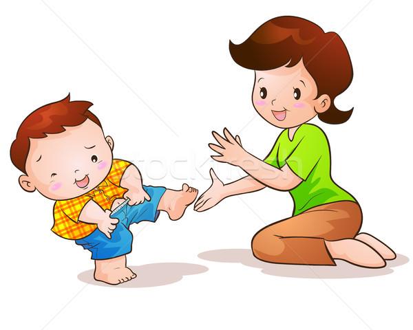 Mom Sohn tragen pants Mutter Pflege Stock foto © watcartoon