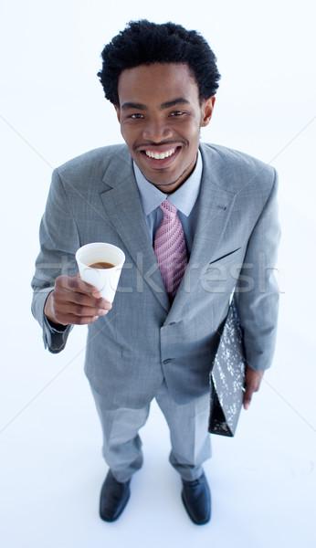Kisebbségi üzletember kávé magasról fotózva üzlet iroda Stock fotó © wavebreak_media