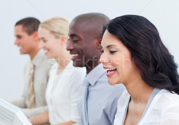 Prezentacji pozytywny zespół firmy pracy biuro biznesmen Zdjęcia stock © wavebreak_media