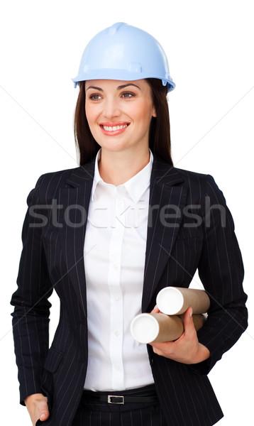 Női építész munkavédelmi sisak fehér üzlet papír Stock fotó © wavebreak_media