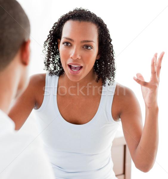 çift tartışma yatak odası kız yatak Stok fotoğraf © wavebreak_media