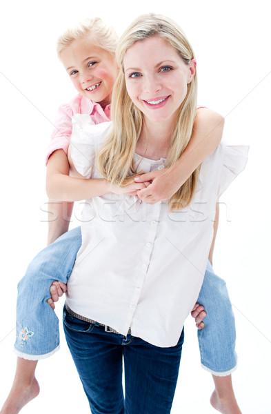 Little girl piggyback mãe branco Foto stock © wavebreak_media