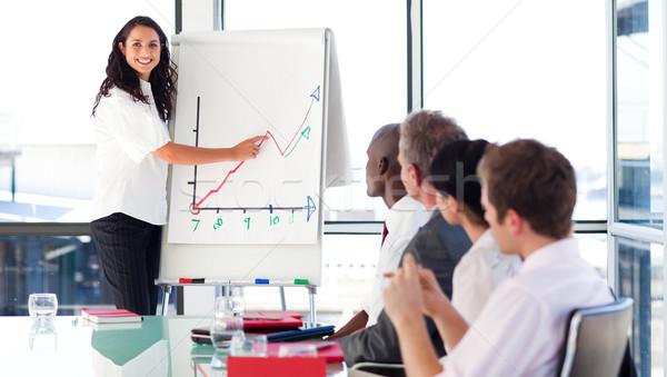 Zakenvrouw uitleggen grafiek naar camera financiële Stockfoto © wavebreak_media