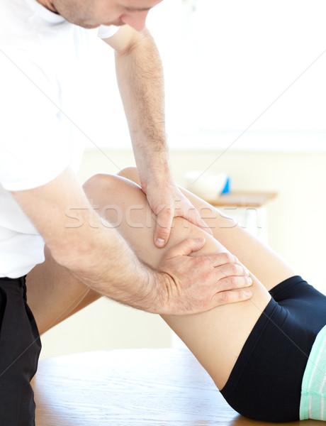 Fiatal nő láb masszázs egészség klub férfi Stock fotó © wavebreak_media