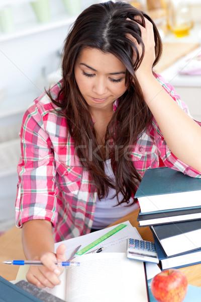 öğrenci ödev oturma büro kitap Stok fotoğraf © wavebreak_media